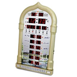 Wholesale Muslim Clock - Wholesale-11.11 BIG PROMOTION muslim azan wall clock azan prayer clock muslim clock Hijri and Gregorian calendarsComplete azan