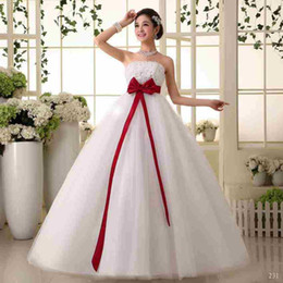 Wholesale Strapless Empire Maternity Wedding Dress - Maternity Bride Sexy Strapless Empire Gown Wedding Dresses Lace-Up Floor-length Women Married A-Line Dresses Tiered Skirt Red Blet Plus Size