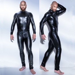 Wholesale Plus Size Full Body Catsuit - leather men latex jumpsuit sexy 3XL catsuit Teddy bodysuit black shiny Erotic Lingerie Bodysuits Body Wear One Piece Gay
