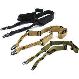 Multi-fonctionnel Réglable Nylon Tactique Double Point Bungee Rifle Gun Airsoft Sling Chasse Strap Gun Noir Brun Vert ? partir de fabricateur