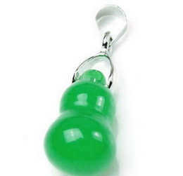 Wholesale Jade Gourd - Free shipping NEW green jade stone gourd Pendants wholesale and retail