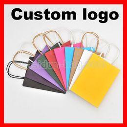 Wholesale Paper Bags Logo - Wholesale- (1000pcs lot) size W21xH27x11cm custom logo gift paper bag with handles