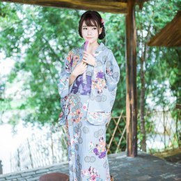 Wholesale Traditional Japanese Women Dress - With Japanese style and national costume ladies bronzing printing traditional kimono dress female cotton bathrobes