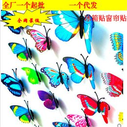 Wholesale Magnet Model - 30 pices Double wings simulation butterfly fridge magnet refrigerator safety pin home decoration Rural Style Personalized Gifts model toys
