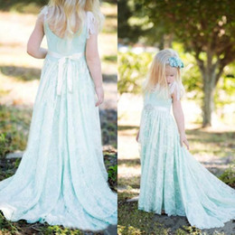 Wholesale Dresess Girls - Unique Light Blue Junior Bridesmaid Dress With Sash Floor Length Graduation Gown Children Lace A Line Prom Dresess Girls Custom Made