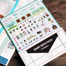 Adesivo di diario deco online-All'ingrosso 9 fogli / lotto Carino iconico DIARIO DECO PACK Kawaii Sticker Planner adesivi Nota Sticker Messaggio Sticker Cancelleria H0108