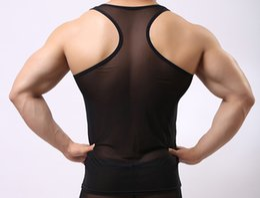 Wholesale Men S Seamless Underwear - Man's Solid color seamless underwear clothing close-fitting vest comfortable mesh undershirt
