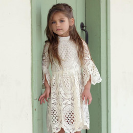 Wholesale Boutique Wedding Gowns - Girls spring Hollow lace dresses, baby kids wedding party clothing, child boutique clothes, retail wear, 1AA610DS76R [ElevenStory_DH]