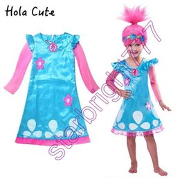 Wholesale Dress Patterns For Children - Hot Sale Trolls dresses Costumes Pattern Children Costumes For Girls Carnival Kids Costumes Summer Girl Dress Trolls Clothes Poppy Party
