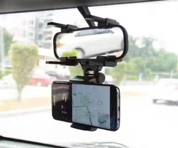 Wholesale Rearview Mirror Holders For Iphone - Car Mount Cell Phone Holder 360 Rotating Car Rearview Rear View Mirror Mount Truck Auto For iphone GPS