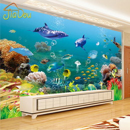 Wholesale Underwater World Print - Wholesale- Custom Mural Wallpaper Underwater World 3D Stereo Children's Room Bedroom Living room TV Background Wall 3D Photo Wallpaper