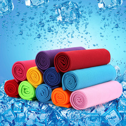 Wholesale Bamboo Cooler - Bamboo Towels Cold Ice Cooling Towel Heatstroke Prevention For Workout Fitness Yoga Travel Camping Sports Sweat Towels Portable Multi Colors