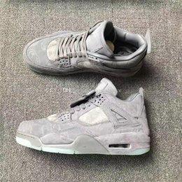 Wholesale Golf Cool - Air Retro 4 X Kaws Cool Grey Glow In The Dark Mens Basketball Shoes Sneakers Limited Edition 4s Grey Suede Sports Shoes With Box Sneakers