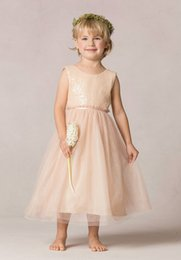 Wholesale Wholesale Price Sequin Dress - Lower price of New Amazing Ball Gown Jewel Tea-length Tulle Flower Girls Dresses with Sequins FLD057 Girls Pageant Dresses