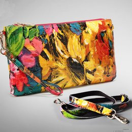 Wholesale Oil Painting Bags - Wholesale-Luxury 100% Real Leather Messenger Bags For Women Shiny Patent Cowhide High Class Oil Painting Cluthes Purses LG1572
