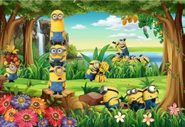 Wholesale Minions House - 3d wallpaper custom photo Non-woven mural Minion forest cartoon children room decor painting picture 3d wall muals wall paper for walls 3 d