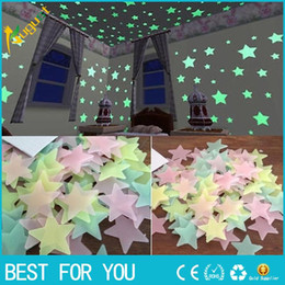 decoraciones espejo círculo Rebajas 100 unids / set 3D Star Glow In The Dark Luminoso Pegatinas de Pared de Techo para Niños Bebé Dormitorio DIY Partido Decoración de Navidad