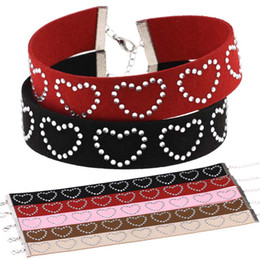 Wholesale Rhinestone Tattoos - Crystal Heart Charm Choker Necklace Necklet soft flannel Tattoo Chokers Collars for Women Fashion Jewelry Christmas Gift 162097