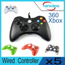 Wholesale Joypad Grips - 5pcs New arrival Wired Game Joypad Joystick Controller With Grip For Xbox 360 Hot With USB Cable, LED XBOX360 YX-360-02