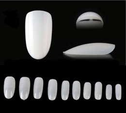Wholesale Acrylic Oval Nail Tips - Wholesales--250sets 500 Oval Nails Tips Round Fullwell White Color Tips False Nail Art Tips DHL FEDEX Free shipping
