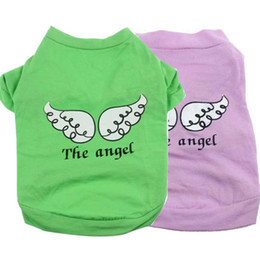 Wholesale Free Patterns Dog Clothes - 2015 Hot selling Cute Pet Puppy Dog Clothes Green and Red Angel Wing Pattern T-shirt Shirt Tops free shipping Angelic