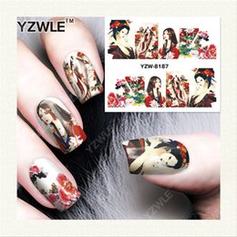 Перенос печати воды онлайн-Wholesale- YZWLE 1 Sheet DIY Decals Nails Art Water Transfer Printing Stickers Accessories For Manicure Salon YZW-8187