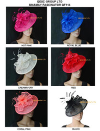 Wholesale flowers church - New arrival.Big saucer Sinamay hat fascinator with feather flower for Kentucky derby wedding party church