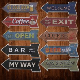 Wholesale Retro Home Decor Wholesale - way out exit welcome ice cold beer bar arrow directional Tin Signs Retro Metal Sign Antique Painting Decor Wall Cafe Pub Shop Restaurant