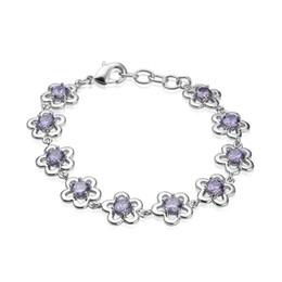 "Wholesale Wholesale Unique Dresses - Links Bracelet Natural Gemstone Purple Amethyst Sterling Silver Crystal Unique Sunshine Shiny Handmade Prom Dresses Gifts 7-8""inch"