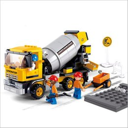 Wholesale Cement Brick - Cool!296pcs set Contruction Bricks DIY Cement Mixer Building Blocks Children Toy Enlightenment Puzzle Brinquedos Birthday Gifts