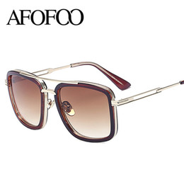 Wholesale Double Gradient Sunglasses - Wholesale- AFOFOO Fashion Unisex Square Sunglasses Luxury Brand Designer Women Double Bridge Mirror Sun glasses Men Shades UV400 Goggle