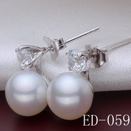 Wholesale Silver 925 Bride - Luxury 925 Silver Zircon Paved Wedding Simulated Pearl Earrings For Brides&Women Stud Earring Motherday best gift Charm jewelry