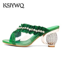 Wholesale Transparent Diamond High Heels - KSJYWQ Summer Slipper for Women Diamond mosaic Shoes 8 cm Chunky heels Sexy Open-toe Transparent upper Mules Box Packing KL832