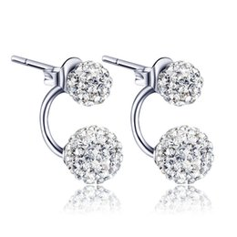 Wholesale Disco Ball Beads Silver - High quality Double sided Shambala Ball Stud Earrings Diamond Crystal disco beads Earings 925 Silver plated fine Jewelry for women girls