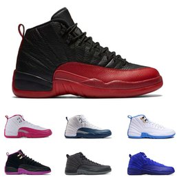 Wholesale Blue Chinese Bowl - 2017 Mens Air Retro 12 Red Flu Game Chinese New Year Taxi Gamma Blue Basketball Shoes Sneakers Sports Shoes wholesale Size US8-US13