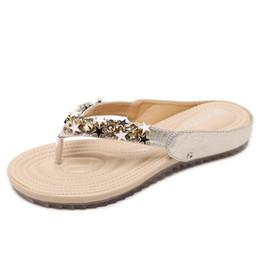 Wholesale Beaded Flip Flop Slippers - 2017 new Korean beaded slippers sandals Bohemia soft bottom shoes