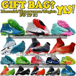 Wholesale Neymar Football Shoes - Mens High Ankle Football Boots Mercurial Superfly CR7 V FG Soccer Shoes Neymar JR Phantom Kids TF IC Indoor Magista Obra II Soccer Cleats