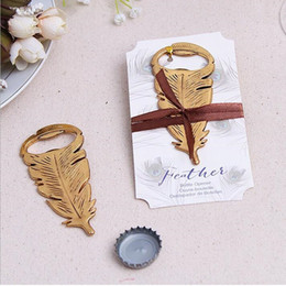 Wholesale Wholesale Gift Giveaways - 100pcs Elegant Gold Peacock Feathers Bear Bottle Opener Wedding Favors Gift Party Favor Guests gifts Souvenirs Giveaways