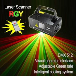 Wholesale Led Scanner Red - Wholesale- New SUNY Remote DMX 200mW RGY Xmas Laser Stage Lighting Scanner Dance Party Show Light LED Effect Projector Mix Yellow Red Green