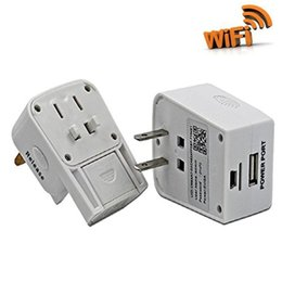 Wholesale Video Wifi Adapter - 1080P MINI Wireless Socket Spy Camera Mini Plug Video Recording Adapter Charger Camera With Smartphoe Wifi APP