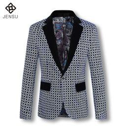 Wholesale Men S Blazers Slim Fit - Wholesale- 2016 Men Coat Blazers Jackets Cardigans Men's Casual Fashion Slim Fit Long Sleeved Large Size Flower Blazers Jackets Coat Male