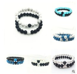 Wholesale Natural Opal Bracelets - 2017 Wholesale Handmade Natural weathering Opal Couple Black stone matte yoga set Buddha Bead Bracelet Natural Bracelets for Women Jewelry