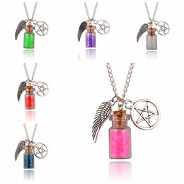 Wholesale Clear Bottle Necklaces - Clear Glass Salt Wishing Bottle Necklace With Angel Wings Pentagram Charms Healing Reiki Statement Necklace 7 Colors