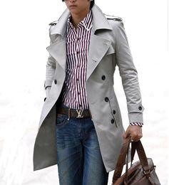 Wholesale Men England Coat - Wholesale- Mens Trench Coat 2016 New Fashion Designer Men Long Coat Windbreaker Autumn Winter Double-breasted Slim Trench Coat Men Overcoat