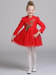 Wholesale Chinese Princess Girl Costume - 2017 autumn and Winter Dress Lace Princess Dress Girls retro red cheongsam dress costume children