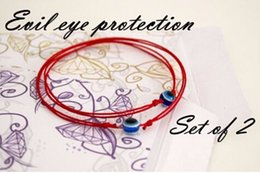 Wholesale Evil Eyes Baby - Wholesale-BRS004 Red String Blue Evil Eye Simple Cheap Bracelet Fashion Kabbalah Bracelet For Women Baby Child Set of Two 2