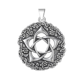 Wholesale Wicca Pentacle - Wholesale- Pentacle of the Goddess Star rose 18mm snaps for necklace WICCA charm pendants jewelry