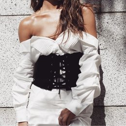 Wholesale Black Corset Lace Up - Wholesale- Vintage Black Corset Lace Up Bandage Women Waist Belt Sexy Waist Cincher Shaperwear Waistband Body Corset