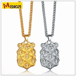 Wholesale Rhinestone Skull Charms - 2018 NEW Hip Hop Necklaces Reggae Skull Shield Shape Uzi Golden Pendant High Quality Necklace Gold Chain Popular Fashion Pendant Jewelry
