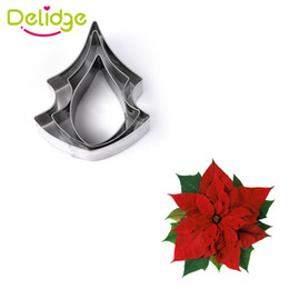 Wholesale Sugarcraft Biscuit - Wholesale- 3 pcs lot Poinsettia Flower Cookie Mold Stainless Steel Fondant Sugarcraft Cookie Biscuit Cutter Cake Decorating Mold DIY Tools